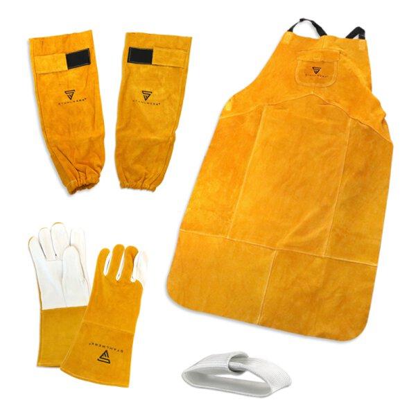 Set di indumenti protettivi per saldatori - Grembiule da saldatore + guanti da saldatore + dita TIG