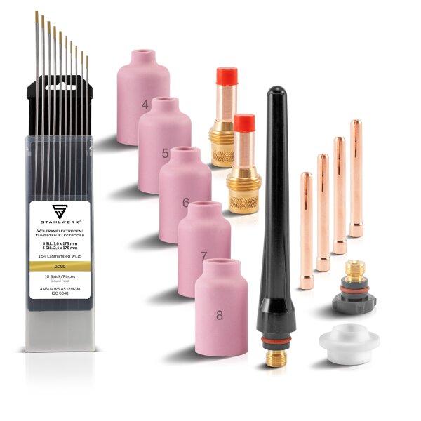 Set di lenti a gas TIG per parti soggette a usura 24 pezzi WP SR Binzel 17 18 18 26